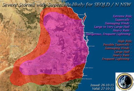 STORMS PREDICTED: The Higgins Storm Chasing group have released a map of predicted storms in the Northern Rivers area today.