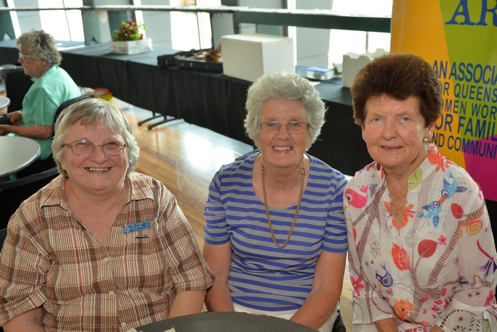 Deirdre Lee, Margaret Armstrong and Geraldine O'Neil.Queensland Country Women's Association State Conference, Civic Centre, Gympie. October 26, 2015.Photo Patrick Woods / Gympie Times
