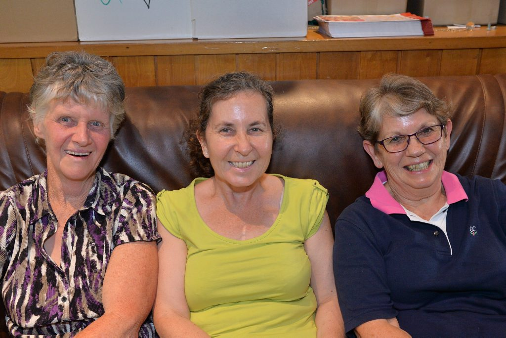 Helen Steele, Jane Reeves and Elaine Reid from Gympie.Queensland Country Women's Association State Conference, Civic Centre, Gympie. October 26, 2015.Photo Patrick Woods / Gympie Times
