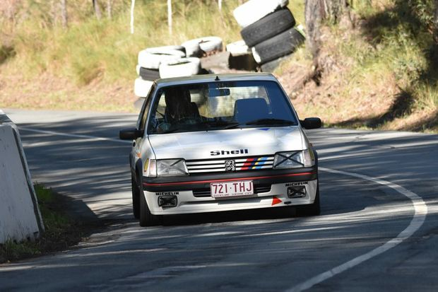 Iain Curry's Peugeot 205 GTi at the Mid Year Noosa Hill Climb. Photo: Jay Bowden