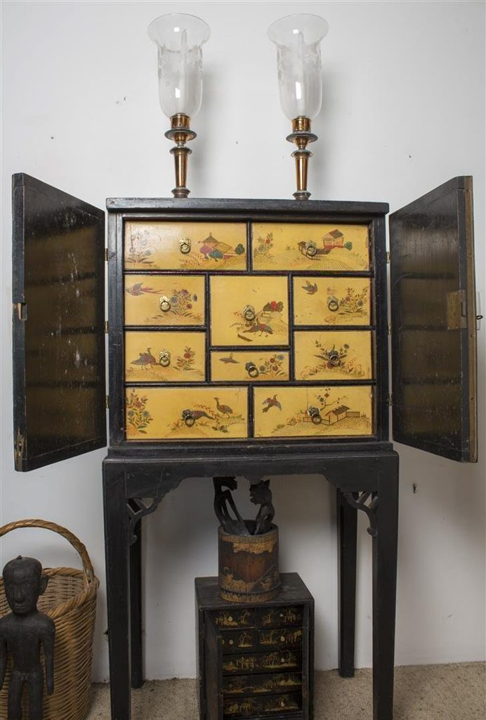 Eighteenth century highly decorated Japanese lacquer chest with drawers on separate stand from the Austin estate. Contributed photo.