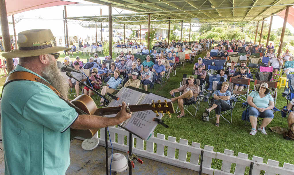 Garry Yowie delivers a set to a large early crowd at the Clarence Valley Country Muster. PHOTO: ADAM HOURIGAN
