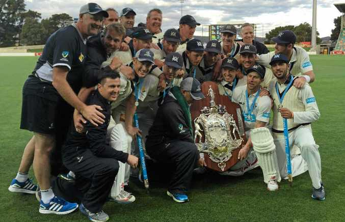 REIGNING CHAMPS: Victoria after winning last season's Sheffield Shield.
