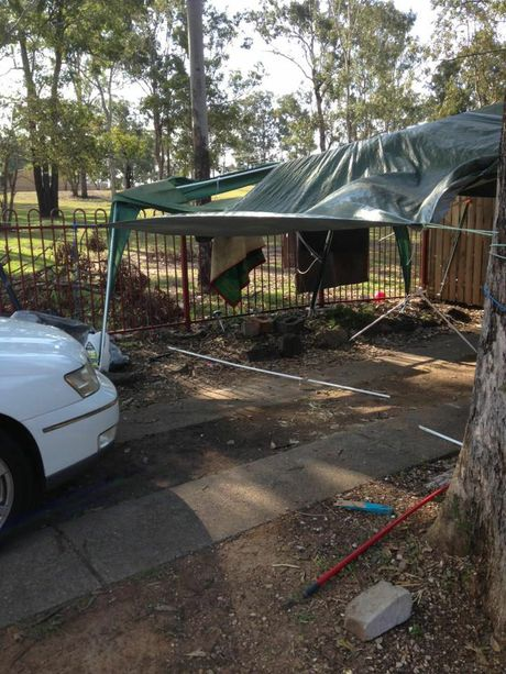 Collingwood Park resident Kel Gilmour sent in this photo of wind damage to her carport.