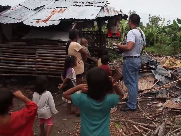 A still from a Shelter Box video about Typhoon Glenda, which hit the Philippines in 2014.
