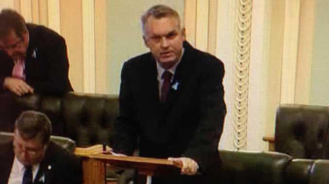 Lachlan Millar addressing parliament.