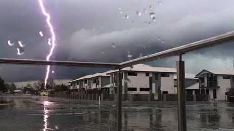 Lightning strikes near Chinchilla on Wednesday. Photo: Kyra Dyne/Higgins Storm Chasing
