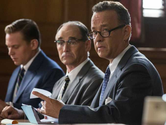 FOR REVIEW AND PREVIEW PURPOSES ONLY. From left, Rudolf Abel, Mark Rylance and Tom Hanks in a scene from the movie Bridge of Spies. Supplied by Fox Australia Film. Please credit photo to Jaap Buitendijk.