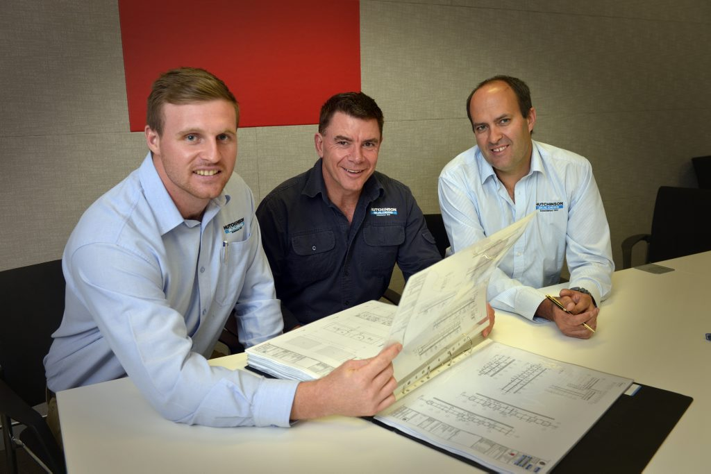 Hutchinson Builders has the contract to build a hospital in Alpha, Central West Queensland. From left; Hutchinson Builders project manager Sean Lees with construction manger Peter Lee and procurement manager Danny Charlesworth.