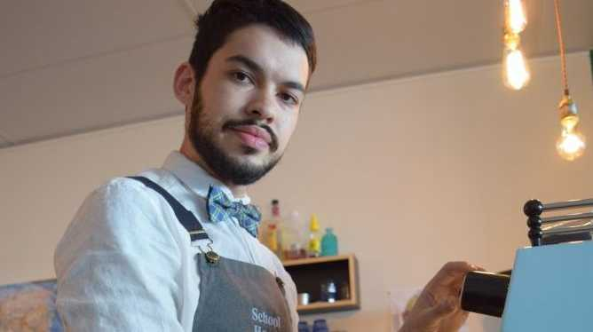 COFFEE GENIUS: Tyler Pask, who plans to head to Columbia soon to learn more about his passion, makes the perfect brew called 'the Magic'.