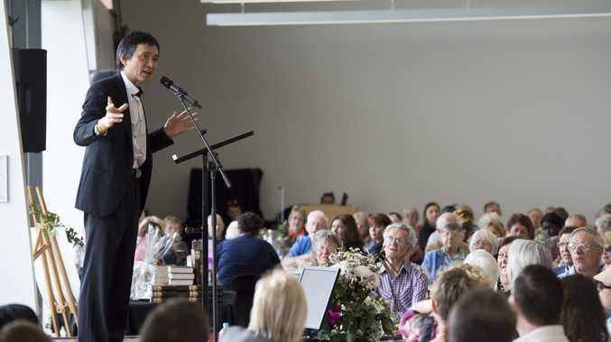 Li Cunxin, Mao's Last Dancer, speaks to attendees of the Family Week Breadkfast.