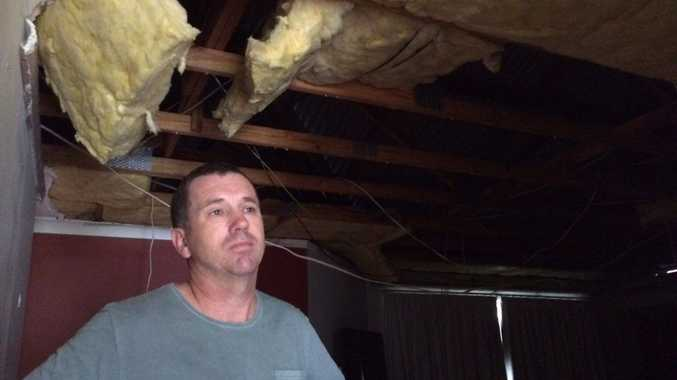 QUICK THINKER: Terry Carty dived under a table when the ceiling of his Little Mountain home collapsed.