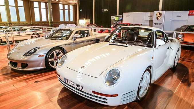 PORSCHE LEGENDS: A 959 (front) and Carrera GT helped celebrate the 50th Anniversary of the supercar at Motorclassica.