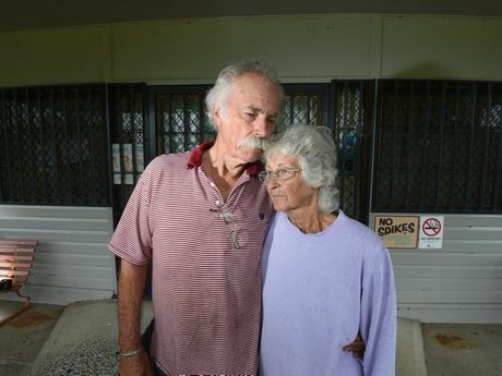 Coraki Golf Club captain Bob Grasby and his wife in front Cheryl in front of the club house where $25,000 of security was installed to tharwt vandals. Photo Marc Stapelberg / The Northern Star