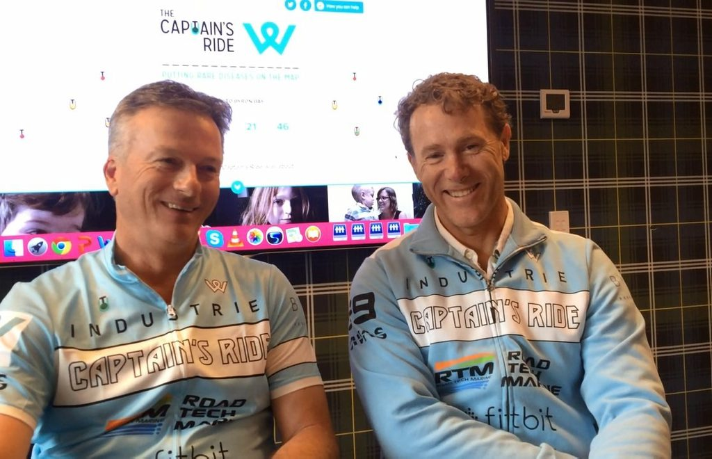 Cricket legend Steve Waugh and paralympian John Maclean prepare to cycle from Sydney to Byron Bay as part of the Steve Waugh Foundation's Captain's Ride to raise money and awareness about rare diseases. Photo Chris Calcino
