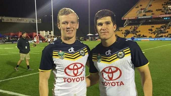 Kyle Laybutt (left) and Cody Maughan after the Cowboys faced New Zealand in the Holden Cup.