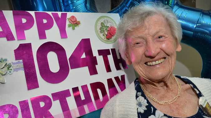 BIRTHDAY GIRL: Clarrie Hoare celebrated her 104th birthday at Seasons Aged Care, Caloundra.