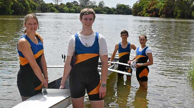 GREAT DAY: Among Trinity Catholic College's competitors at Lismore Rowing Club's annual regatta on Sunday were, from left, Olivia Outerbridge, David Normoyle, Chris Lambrou and Andrea Brushett. The four won the mixed quad skull and, along with fellow Trinity student Isaac Graham (not pictured), many other medals. Competing for Lismore was Josh Rose who won several races too.