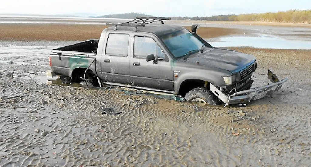 BAD LUCK: Armstrong Beach resident Phil Bensted stumbled on this bogged vehicle when he went for a walk on Sunday.