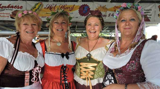 PROST: Julie Patterson, Debbie Mackie, Michelle Parr Ruddle and Di Ferguson enjoy the atmosphere at last year's event.