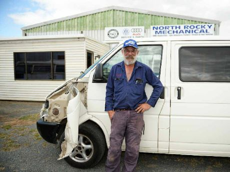 BIG BLOW: Gordon Fischer with the van used to ram the gates of his business.