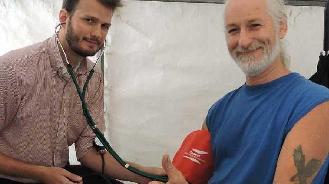 GP STALL: David McDermott of Cooran gets a check-up.