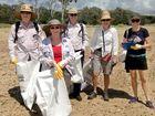 Caption: Reef Clean Up Day volunteers Paul Van Der List, Mariee Van Der List, Dallas Black, Margaret Black and Jodi Salmond combed Lilley's Beach at Boyne Island on Sunday.