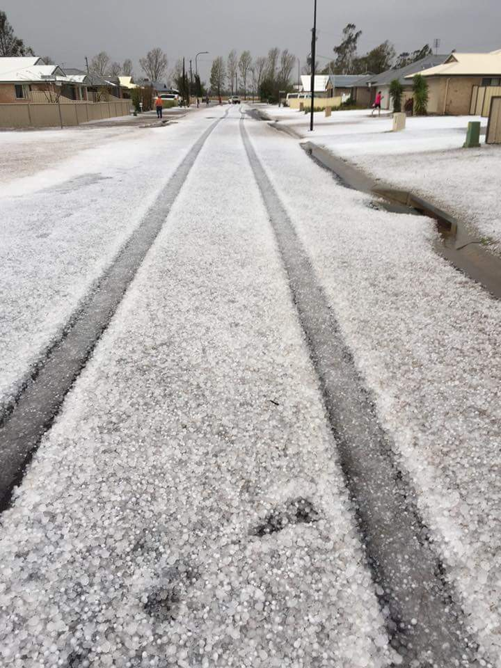 Chinchilla's streets are blanketed in hail.