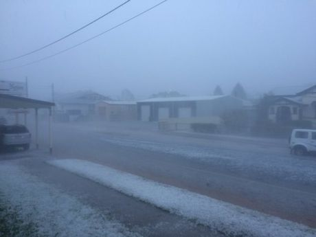 The aftermath of a hail storm that hit Chinchilla on the western Darling Downs this afternoon.