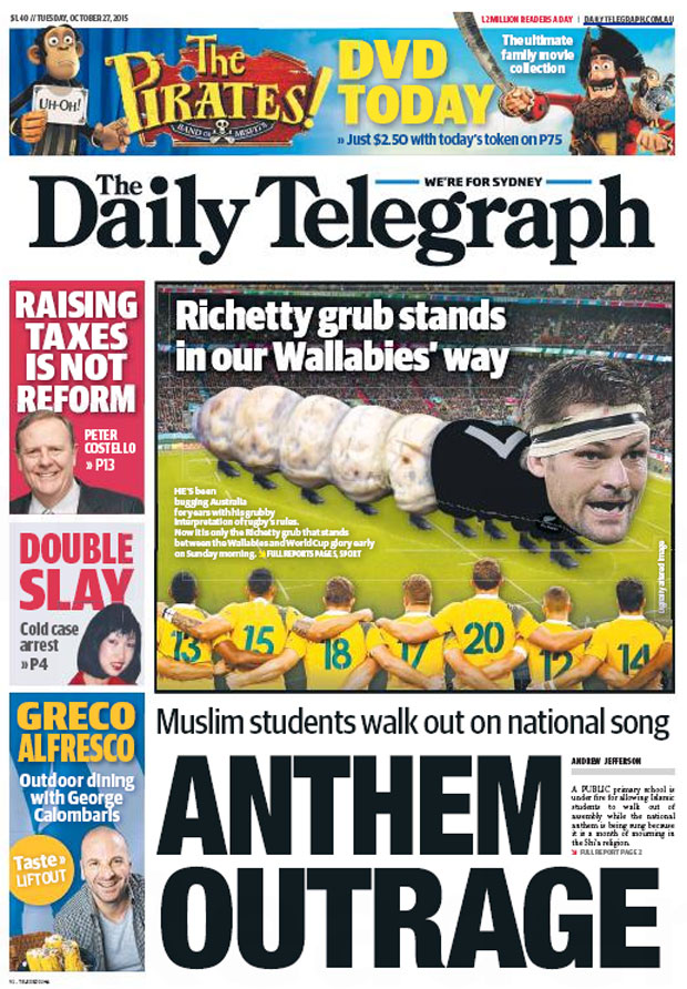 The front page of Sydney's Daily Telegraph declares war on McCaw.