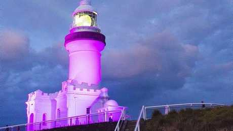 The Lighthouse all lit up for Breast Cancer Awareness