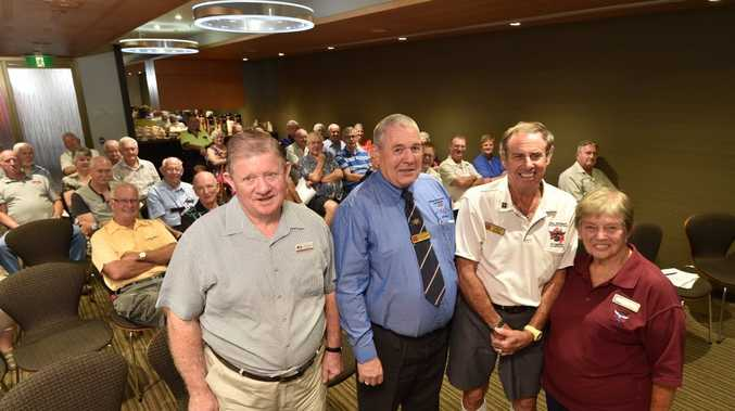 National Service Association meeting at Hervey Bay RSL - (L) Ray Eustace (Pres. Hervey Bay Services and Memorial Club), Alex Garlin (State Pres.), Ian Debert (Hervey Bay V/Pres) and Joy Hynes. Photo: Alistair Brightman / Fraser Coast Chronicle