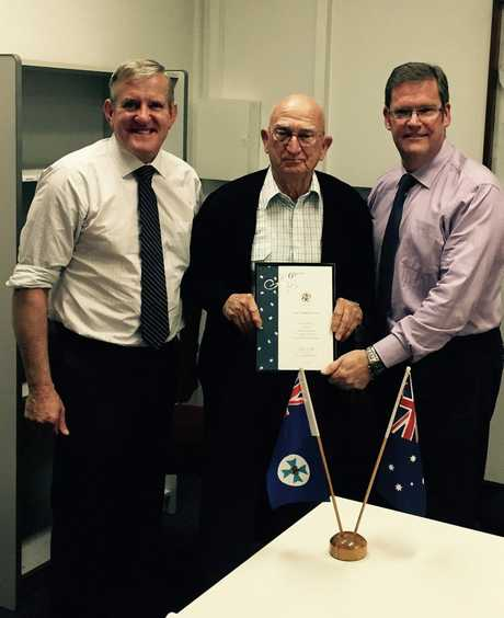 [ENDS] Photo Caption: Federal Member for Groom Ian Macfarlane, Noel Nelson, and Member for Toowoomba South John McVeigh at the presentation of Mr Nelson's award for serving 60 years as a JP. Photo Contributed