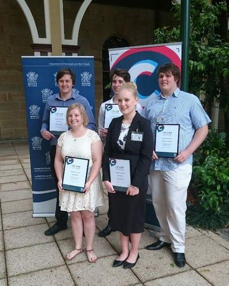 CO-LAB Youth innovation Challenge winners Mitchell Leikvold, Nicholas Sutherland, Jackson Herz, Shelley Walker & Kiarah Kelly.