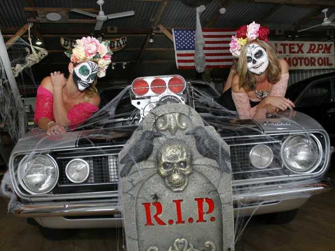 (Left) Jen Struyf and Shelley Murfitt from Adults Only Car Shop prepare for their Halloween Spooktacular Show and Shine event in Maroochydore, open to all makes and models.