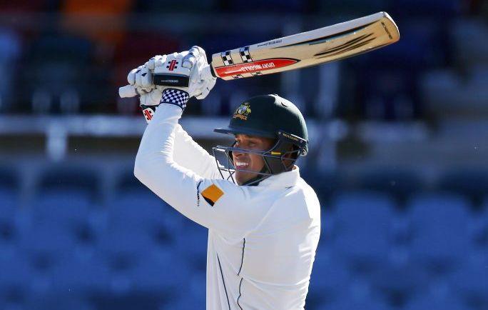 Usman Khawaja bats for the Cricket Australia XI against New Zealand in Canberra earlier this week. Photo: AP Photo/Steve Christo.