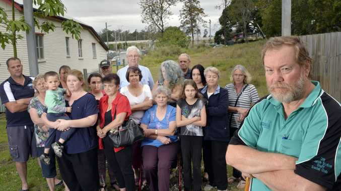 Local residents are up in arms over the proposal for a rehab centre in Queen Street, Dinmore. Jeff Walker (front). Photo Inga Williams / The Queensland Times