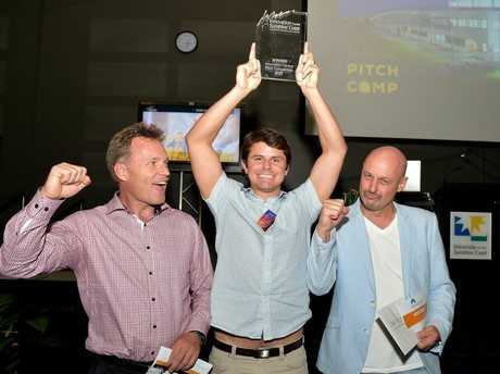 The Pitch Competition at Innovation Centre. Innovation CEO Mark Paddenburg (left) with the winners from Tiltsta: Ben Thomas and Bonny Morlak Photo: Warren Lynam / Sunshine Coast Daily