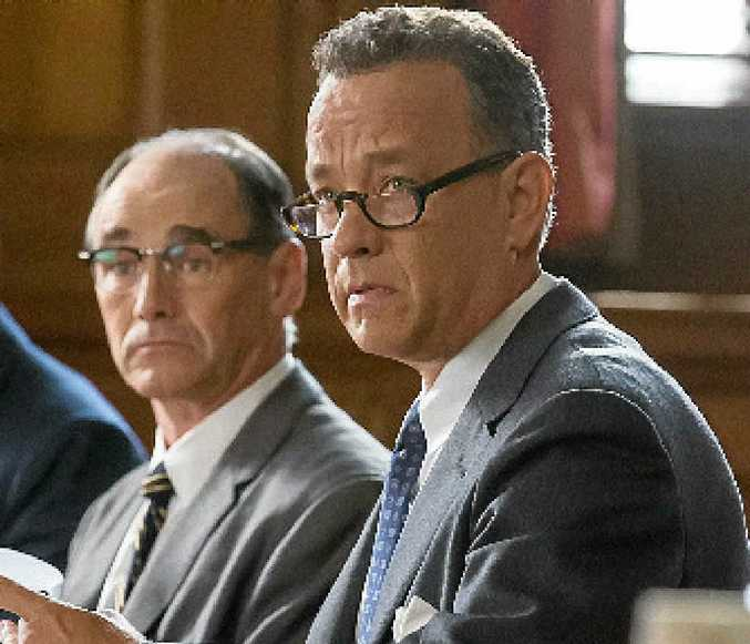 Mark Rylance and Tom Hanks in a scene from the movie Bridge of Spies.