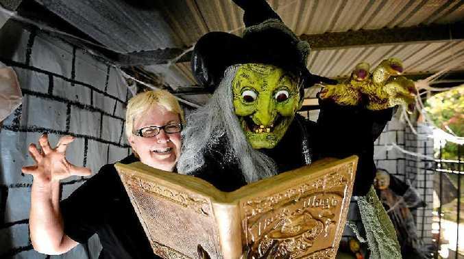 FRIGHT NIGHT: Sonya Richards setting up the haunted house.