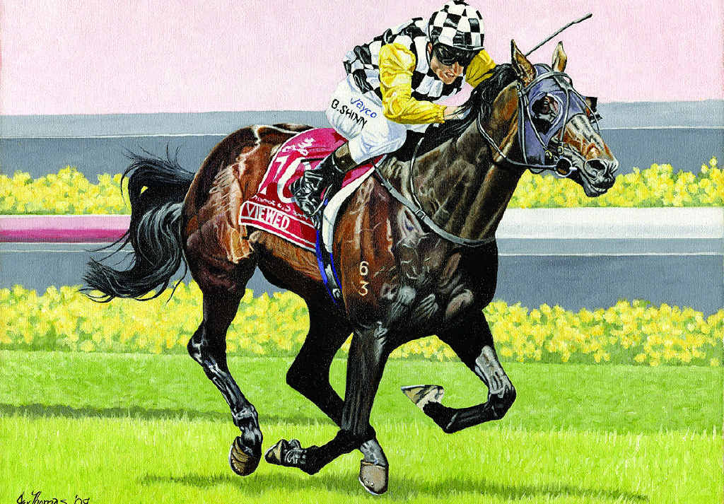 Artist Janet Thomas is commissioned to paint the portraits of Melbourne Cup winners.
