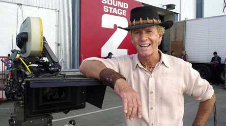 Actor Paul Hogan on the set of