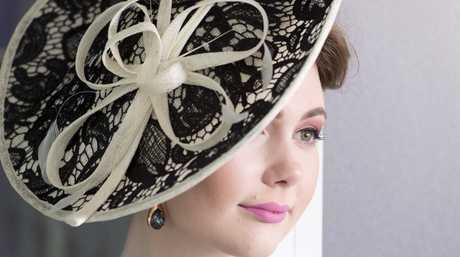 Danielle Armit models racing fashion from Grand Central in the lead up to Melbourne Cup.