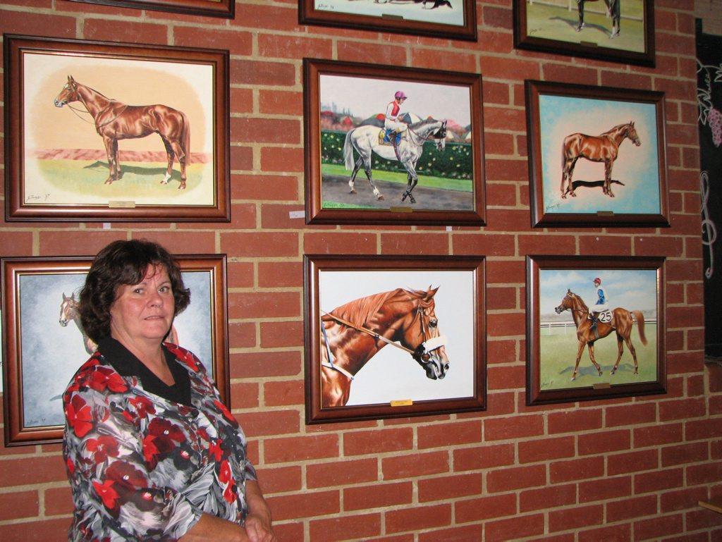 Equine artist Janet Thomas at an exhibition of her works in 2011 at Box Stallion Winery, a former stud and stables converted into a gallery and restaurant on Victoria's Mornington Peninsular.