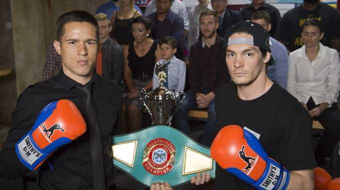 Will Young (left) and his title opponent Matt Seden eye the Australian championship belt on the line at Rumours International tomorrow night.