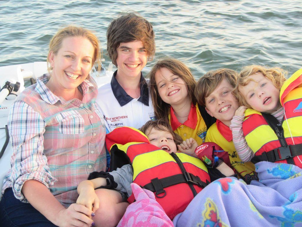 Rachael Moore with her brave brood Jayden, Kaylea, Cameron, Samantha and Zane. Photo Contributed