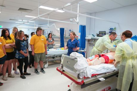 PARTY TIME: Students experience the journey of a trauma patient in Lismore Base Hospital