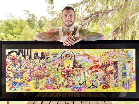 Ball-point pen artist Shayne Hawks. Photo Inga Williams / The Queensland Times