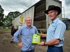 CELEBRATING: Aldi has taken its first truckload of fertiliser from Dr Grow it all in Yandina.  Chief operations officer Lou Hatton (left) and General Manager Danny Hood are celebrating. Photo: Che Chapman / Sunshine Coast Daily