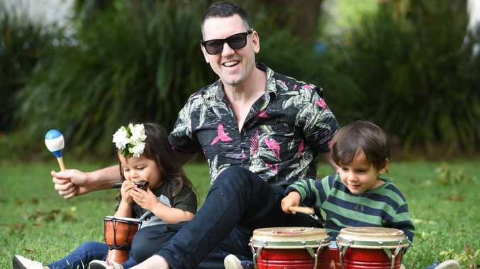 Yindi and Santiago, 2, enjoy playing music with their dad Nathan Cooper, of Brooklet, as part of their educational upbringing. Photo Marc Stapelberg / The Northern Star